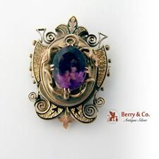 Antique Victorian Locket Pendant Brooch 14 K Gold Amethyst Enamel