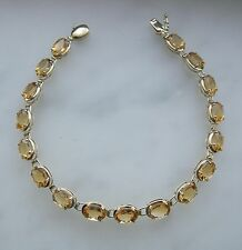 14K YELLOW GOLD CITRINE TENNIS BRACELET 14 TCW  7.5 INCHES LONG