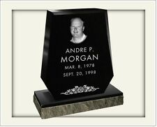 CEMETERY HEADSTONE- BLACK- multiple engraving options included in price