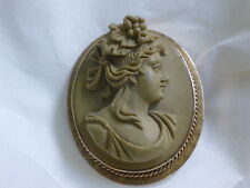 Victorian Lava Cameo Brooch set in 14K gold frame