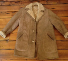 Vintage 100% Genuine Shearling Sheepskin Suede Leather Marlboro Jacket Coat 42L