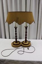 Vintage Bouillotte Style Double Candlestick Table Desk Lamp Vintage Shade