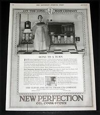 1917 OLD MAGAZINE PRINT AD, NEW PERFECTION STOVES, IT'S THE LONG BLUE CHIMNEY!