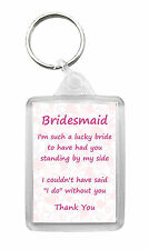 Bridesmaid 'Thank You' Keyring Keyfob Novelty Fun Wedding Gift Present