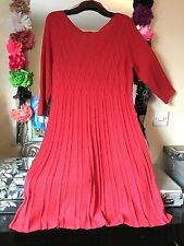 BNWOT MONSOON CORAL SUPER SOFT TEXTURRD KNIT A LINE JUMPER DRESS SIZE 20/22