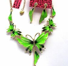 Betsey Johnson Beautiful Green enamel butterfly bib Necklace earrings set#735T