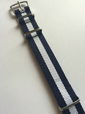 Blue White Scotland Military Canvas Watch Strap 18mm Silver NEW G10 MWC