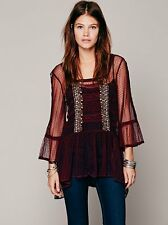 $128 FREE PEOPLE ANTHROPOLOGIE Lace Embroidered Crochet Tunic MIni Dress Top S M