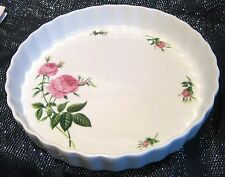 White flan case decorated with pink roses Christineholm approx 9.5 ins wide