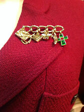 """Chanel pin-gold , with  5 Chanel charms, """"CC"""" logos, poured glass cabochons"""
