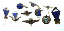 RUSSIAN VINTAGE BADGE SET PIN USSR 10 ITEMS ENAMEL POT METAL ARMY AVIATION