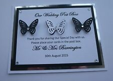 THREE BUTTERFLY POST BOX SIGN IN BLACK WHITE SILVER WEDDING BIRTHDAY ENGAGMENT