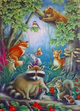 Raccoon & Friends Forrest Animal Scene Garden Flag