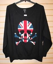 NEW TORRID WOMENS PLUS SIZE 4X 4 RED WHITE BLUE SKULL UNION JACK RAGLAN SWEATER