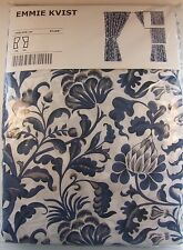 Retired IKEA EMMIE KVIST Curtains Pair Blue White Gray Linen Cotton 57x98""