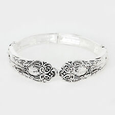 Spoon Stretch Bracelet Vine Design Handle Curlique Metal SILVER Filigree Jewelry