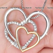 3 Heart Necklace Gold Silver & Diamond Pendant Costume Jewellery Gift for Her E5