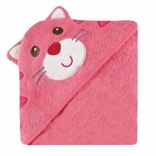 Luvable Friends Animal Face Hooded Towel, Pink Cat 100% Cotton Terry