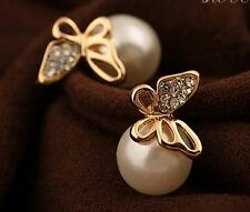 Trendy Latest Modern Fashion Gold Plated Butterfly Stud Earrings for Girls women