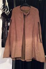 Vintage Camel Boho Indie Cape Coat Fully Lined Arm Slits Flat Fur