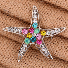 Charm Colorful Rhinestone Crystal Starfish Gold Plated Brooch Pin Gift Jewelry