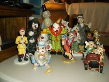 Lot of 12 Ceramic/Porcelain Clown Figurines,Clowns In Car Glazed