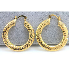 18k Gold Filled Lightweight Thick Hoop Earrings - Wholesale Price