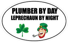 PLUMBER BY DAY LEPRECHAUN - Plumbing / Tradesman / Fun Vinyl Sticker 16cm x 9cm