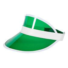 Unisex GREEN Sun Visor Poker Hat Golf Neon Stag Rave 1980s Dance Cap Headband