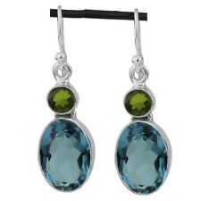 BLUE TOPAZ w GREEN PERIDOT GEMSTONES 925 STERLING SILVER DROP EARRINGS ~ 1 1/2""