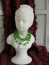 OMG! Vintage French Porcelain Girl Bust Statue w/green glass beaded Rosary