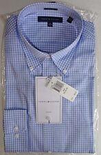 Tommy Hilfiger Men's Dress Shirt Slim Fit Large 16 34/35 L Blue White Cotton New
