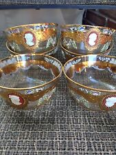 VINTAGE CRYSTAL  Enamel Cameo SET OF 6 SHERBET/FRUIT Bowls