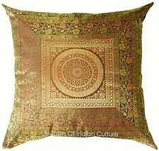 "Large 24"" Brown Mandala Cushion Cover Floor Pillow Indian Ethnic Throw Decor"
