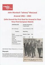 JOHNNY MacLEOD ARSENAL 1961-1965 ORIGINAL HAND SIGNED MAGAZINE CUTTING
