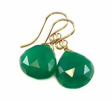 Green Emerald Onyx Earrings Agate 14k Gold Filled Faceted Heart Teardrops