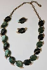 Vintage Lisner Emerald Green Lucite and Rhinestone Leaf Necklace and Earring Set