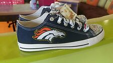 Denver Broncos Bling Converse Women's Canvas Shoes size 7.5