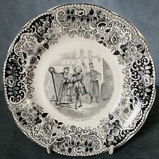 RARE 19th. CENT FRENCH CHILDS PLATE - STREET ENTERTAINERS - TRAVELLING MUSICIANS