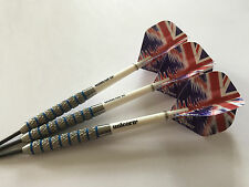 27g Blue Ring Union Jack Ripple Tungsten Darts Set,Unicorn Stems,Ripple Flights