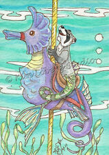Raccoon fish Sea horse Carousel aceo EBSQ Loberg fantasy Ocean animal Mini Art