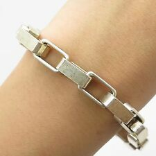 Italy 925 Sterling Silver Wide Thick Heavy Men's Link Bracelet 7""