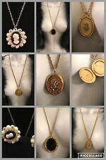 Lot of 5 Vintage NECKLACES & EARRINGS Cameo Picture Locket Pendant Gold Silver