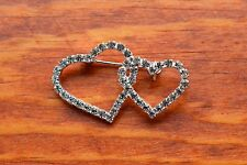 Two Hearts Swarovski Element Crystal Bridal Party Dressy Brooch Pin