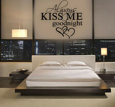 BIG ALWAYS KISS ME GOODNIGHT LOVE Quote Wall Sticker Bedroom Removable Decal DIY