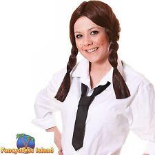 BROWN PIGTAILS PLAITS SCHOOLGIRL WIG Ladies Womens Fancy Dress Costume