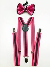 Pink Black Men Women Clip-on Suspender+Bow-Tie All Stripe Combo Adjustable