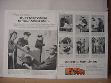 1960 Allied Van Lines Moving Trucking Big Double Page Vintage Print Ad 10338