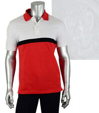 $420 GUCCI POLO SHIRT RED BLACK & WHITE COTTON CREST LOGO EMBROIDERY M MEDIUM