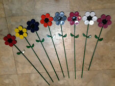 Up-Cycled: Small Metal painted Garden flower stake decorations- one of a kind